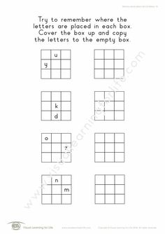 """In the """"Memory Block Letters 3x3 (2 Letters)"""" worksheets, the student must remember where the letters are placed in each box, so that they can copy them to the open box from memory. Learning For Life, Visual Learning, Preparing A Business Plan, Business Plan Presentation, College Admission Essay, Informative Essay, Letter Worksheets, Visual Memory, Custom Writing"""