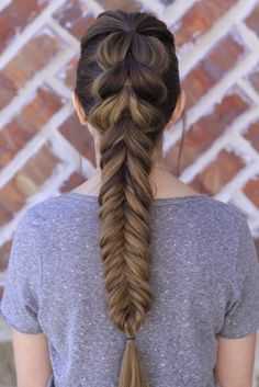 Pull-Through Fishtail Braid Combo by Cute Girls Hairstyles.  So in LOVE with this style!