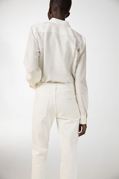 Silk Straight-Cut Blouse - Off White - Shirts & blouses - ARKET DE