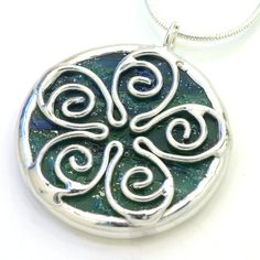 Spiral Flower Stained Glass Pendant. SOLD