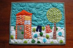 Easy House Quilt Block | This mini-quilt is A4 size and hand-pieced and hand-quilted with a ...