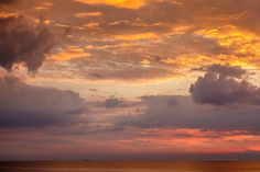 Dramatic Sunset with Red and Gold Clouds near Genoa, Italy