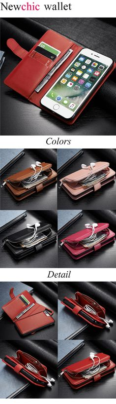 [$ 14.22] Women Men Multifunctional iPhone7/7Plus/6/6s/6Plus/6sPlus PU Leather Phone Case Wallet Card Holder