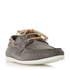 Dune Belize lace up boat shoe, Grey