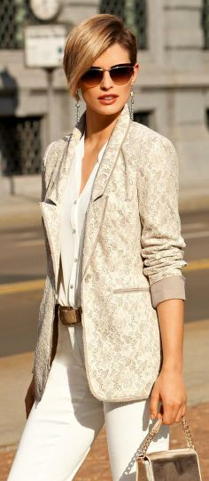 Madeleine - Lace overlay blazer over cream blouse and pants