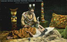 Kwakiutl Witch Doctor Visiting Patient Alaska Native Americana