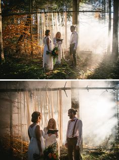 Elopement in the forest and the fog during fall - fall elopement - small wedding in the forest - ceremony in the forest - smokebombs