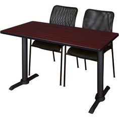 Cain 48 inch x 24 inch Training Table in Multiple Colors and 2 Mario Stack Chairs, Black, Brown