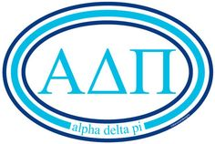 "Alpha Delta Pi 6"" x 4"" Oval Bumper Sticker/Window Decal Perfect for decorating your car, laptop, water bottles, or use with fun craft projects!"