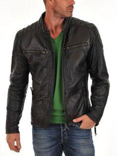 Men's Genuine Lambskin Leather Jacket Soft Slim fit Biker Motorcycle jacket-76…