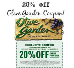 Olive Garden 20 off Lunch Coupon Olive garden lunch coupons