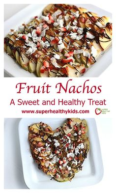 Fruit Nachos. A Sweet and Healthy Treat. Freshly shaved coconut makes these apple nachos even better! www.superhealthykids.com/fruit-nachos-a-sweet-and-healthy-valentines-treat