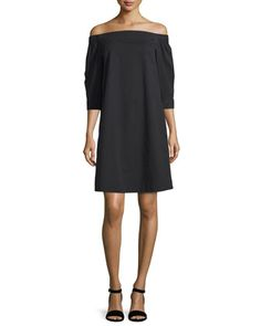 Zizinna+Off-the-Shoulder+Poplin+Dress,+Black++by+Theory+at+Neiman+Marcus.