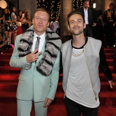 Macklemore and Ryan Lewis photographed on the red carpet at the 2013 MTV Video Music Awards in Brooklyn, New York. (MTV)
