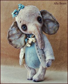 RESERVED for Donna by Alla Bears original artist  Elephant art doll Antique Vintage baby handmade stuffed home decor Christmas blue pet
