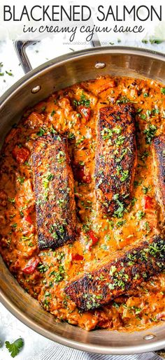 Quick and easy Blackened Salmon with a crispy crust on the outside and juicy, buttery inside all smothered in creamy Cajun sauce – on your table in 30 minutes! via dinner Blackened Salmon in Creamy Cajun Sauce Salmon Fish Recipe, Tilapia Fish Recipes, Healthy Salmon Recipes, Vegetarian Recipes, Cooking Recipes, Salmon Sauce, Fish Recipes Cajun, Cajun Seafood Sauce Recipe, Fish Sauce Recipes