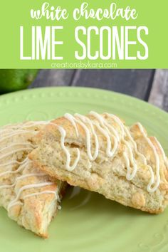 White Chocolate Lime Scones . . . Soft, tender, and full of fresh citrus flavor, these scones are a yummy treat for breakfast or brunch. #limescones #citrusscones #lime #scones #whitechocolate #whitechocolatelimescones #breakfast #brunchrecipe -from Creations by Kara Best Breakfast Recipes, Best Dessert Recipes, Chef Recipes, Brunch Recipes, Fun Desserts, Holiday Recipes, Brunch Ideas, Baking Recipes, White Chocolate