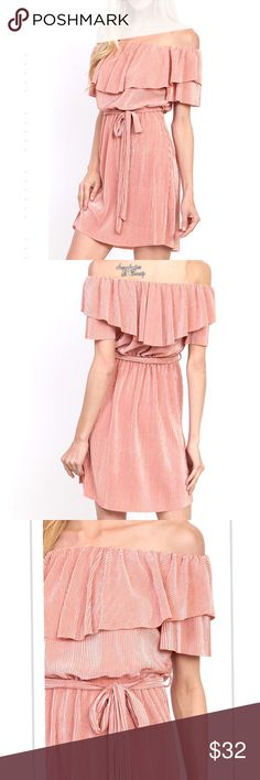 Pretty blush OTS pleated dress w/waist-tie, NWT Off shoulder layered ruffle panel short sleeve waist tie detail solid perma pleated dress. 🚧🚨*please note: this item MAY take 7-10 days to ship out Dresses Mini