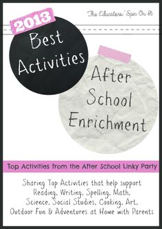 2013 Best Activities for After School Enrichment featured by the After School Linky Party Hosts.  Resources for Parents for Activities for Kids at home after school.