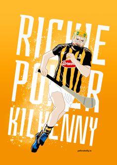 Richie Power, Kilkenny, Hurling, Poster, Illustration, GAA, Croke Park, Leinster, Ireland, Artwork, Sport 60th Birthday Party, My People, Irish, Legends, Football, Cats, Illustration, Sports, Poster