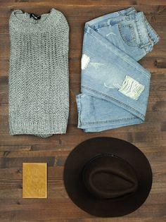 grey chunky sweater + distressed boyfriend jeans + passport holder + wide brim hat + travel + packing light + capsule wardrobe + flat lay + fall fashion + style