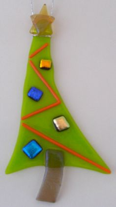 Fused Glass Grinch Christmas Tree Ornament by DawnRiveraDesigns on Etsy, $20.00