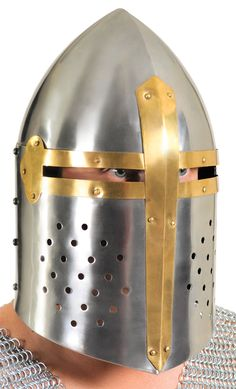 OFF or FREE SHIP -Full Face Metal Adult Armor Helmet : The Sugarloaf helmet has a pointed top that deflected blows to the head. Soldiers during the late Century relied on it to protect them in battle. This helmet is handmade from 18 gauge steel and may Helmet Accessories, Costume Accessories, Medieval Knight Costume, Spanish Hat, Aussie Hat, Chinese Hat, Bull Whip, Halloween Express, Knights Helmet