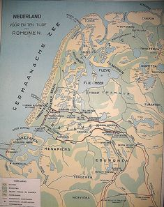 """The Netherlands during the Roman Empire. The northern part of the country was never occupied by the Romans. The Roman border ran through Utrecht (""""Trajectum""""). European Map, European History, Early World Maps, Holland Map, I Love School, Classical Antiquity, Old Maps, Prehistory, Historical Maps"""