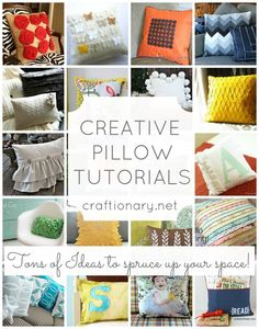 CLICK IMAGE TWICE FOR INFO:) 25 Ideas To Create Decorative Pillows @ crafionary.net