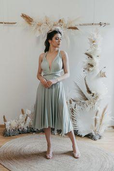 Midi Dress Eucalyptus — We Are Flowergirls Drapery Wedding, Ibiza Wedding, Convertible Dress, Jumpsuit Dress, Slow Fashion, Wedding Season, Wedding Styles, Designer Dresses, Bridesmaids
