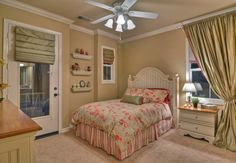 Traditional Kids Bedroom with Tuscany Series Single Hung Window, Westfield cottage white headboard, Ceiling fan, flush light
