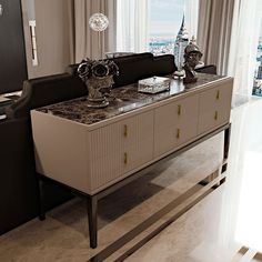 Art Deco Inspired High End 6 Drawer Buffet Sideboard