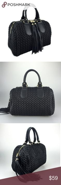 """NWT 100% VEGAN TIE ME UP BAG BLACK One of our Most Elegant Pieces Black Color (Gorgeouse 😍) Faux Super Elegant Accessory Tassels Included Adjustable Shoulder Strap Included Fabric Lining Inside   100% Vegan and Lead Free   Designed in Los Angeles, California   Purse: BLACK COLOR Measures (13.5"""" Length x 15.5 Height (including handles) x 7.5"""" Width)  item #20-4750  Purse duster included .   Click bio or closet for more colors  *NO TRADES* Beyond The Fame Bags Satchels"""