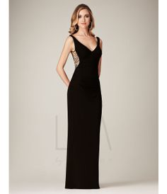 LM by Mignon Spring 2014 Dresses - Black Beaded V-Neck Sheer Low Back Prom Dress - Unique Vintage - Prom dresses, retro dresses, retro swimsuits.