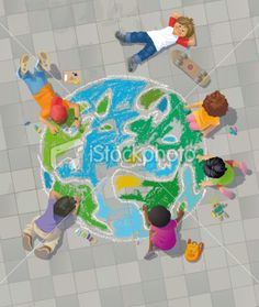 Children Drawing the World on Street - Stock illustration