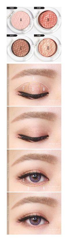 ♡ #Eye #makeup # #korean #eyeliner #eyeshadow #tutorial #corea #maquillaje #cosmética #sombradeojos