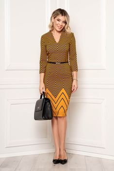 StarShinerS mustard dress elegant midi pencil with v-neckline cloth with graphic details Mustard Dressing, Fabric Textures, Product Label, Elegant Dresses, Clothing Patterns, Neckline, Detail, Clothes, Style