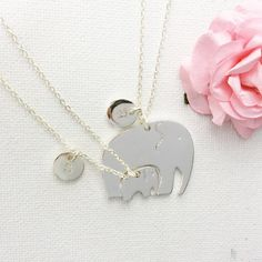 Mother and daughter elephant necklace, elephant necklace, gift for mum, mum gift, mom gift, mum and daughter necklace, elephant jewellery