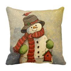 Shop 4905 Snowman & Birdhouse Christmas Throw Pillow created by RuthGarrison. Christmas Signs Wood, Diy Christmas Tree, Christmas Pillow, Christmas Balls, Christmas Snowman, Christmas Wreaths, Christmas Cushions, Christmas Kitchen, Christmas Ideas