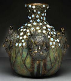 Bohemia Clayarts: Large Royal Dux Amphora vase with four owls