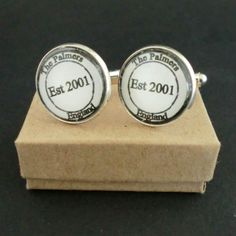 Personalised Stamp Cufflinks Black and White £15.00