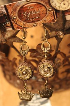 Upcycled Earrings  Victorian Buttons and by TheGildedGypsies, $46.00