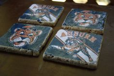 vintage style auburn university tumbled marble by carrieqberry, $15.00