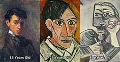 Picasso's Self-Portraits from 15 Years Old to 90 Year Old