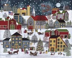 "Primitive Folk Art Christmas Santa snow village print by Medana Gabbard titled ""Christmas Eve"" Christmas decor, holiday decor Christmas Scenes, Christmas Art, Vintage Christmas, Primitive Christmas, 2 Clipart, Illustration, Primitive Folk Art, Arte Popular, Naive Art"