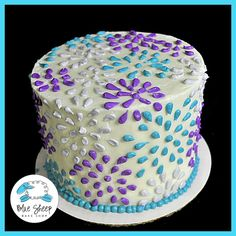 Floral Tulips Buttercream Cakes | Buttercream Polka Dots and Flowers Birthday Cake