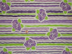 VINTAGE FEEDSACK FABRIC ~ Fab Lime Green & Purple Roses Stripe Cotton Flour Sack