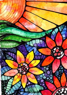 pen and watercolor - looks like stained glass - gorgeous! Pen And Watercolor, Watercolor Pencils, Mandala, Art Plastique, Mosaic Art, Doodle Art, Art Lessons, Stained Glass, Glass Art