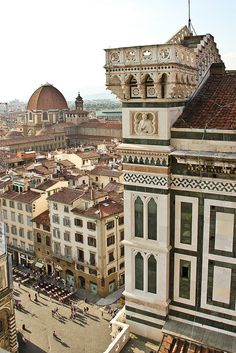 View from Giotto's Campanile, Capella Medici in the background - Florence, Italy