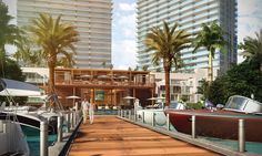 Bayfront beach club featuring sandy beach areas with a private pool, a second story lounge area for private events, a marina with private slips, and on-demand service for rentals of speedboats and personal watercrafts for windsurfing, canoeing, and paddleboarding.